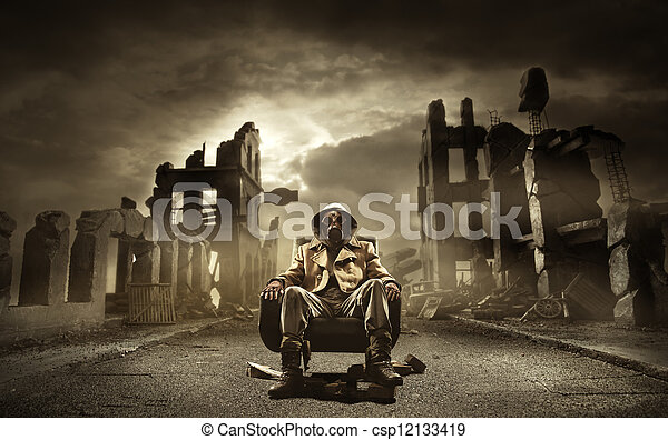 Post apocalyptic survivor in gas mask - csp12133419