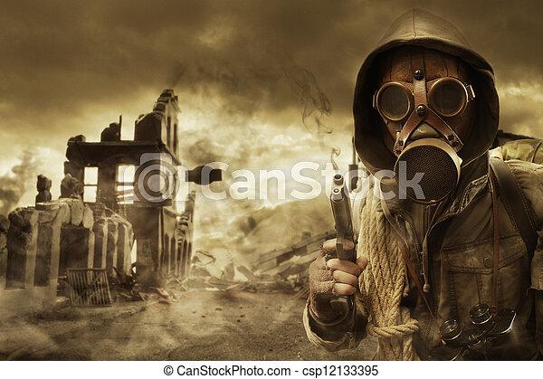 Post apocalyptic survivor in gas mask - csp12133395