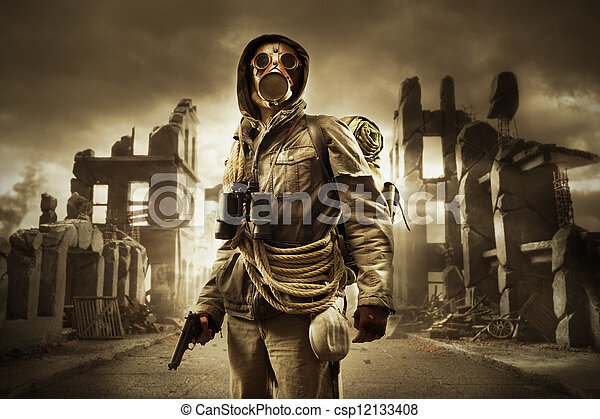 Post apocalyptic survivor in gas mask - csp12133408