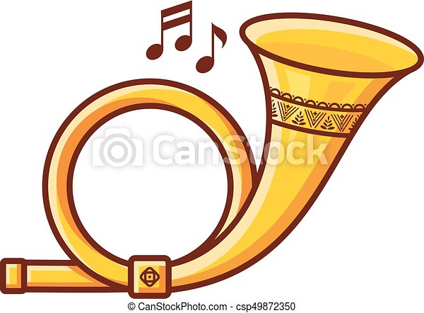 Post horn. Musical instrument. Baby toy. - csp49872350