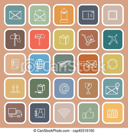 Post line flat icon on brown background - csp40316160