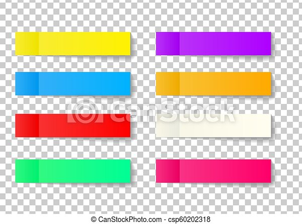 Post note sticker set isolated on transparent background  Paper sticky tape  with shadow  Vector office color post sticks for advertising design