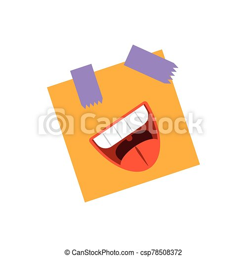 post note with cartoon mouth laughing, flat style icon - csp78508372