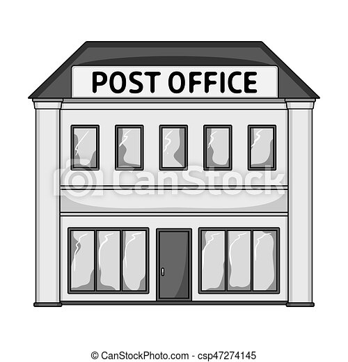 Post Office.mail And Postman Single Icon In Monochrome Style Vector Symbol  Stock Illustration Web.
