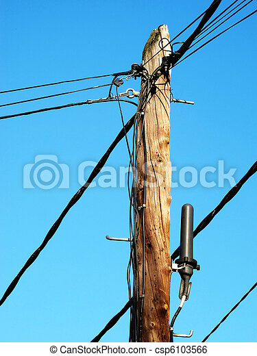 post old telephone wiring with many wires - csp6103566