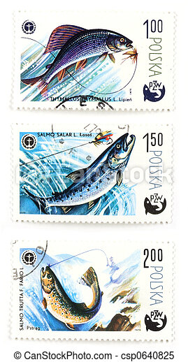 Post stamps with angling and fish - csp0640825