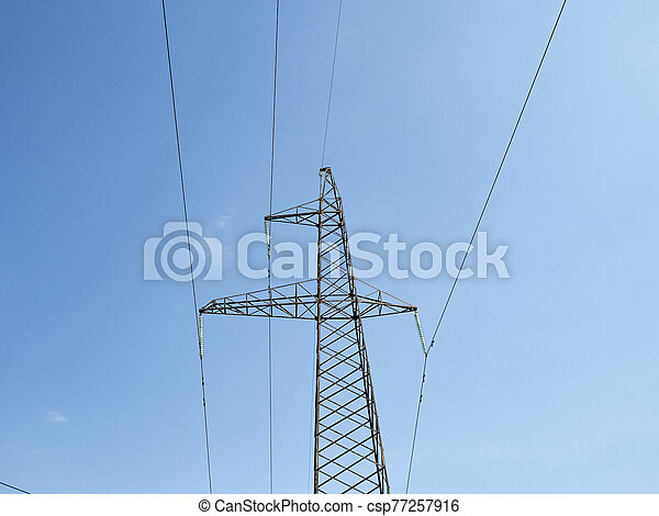 Post with electrical wires - csp77257916