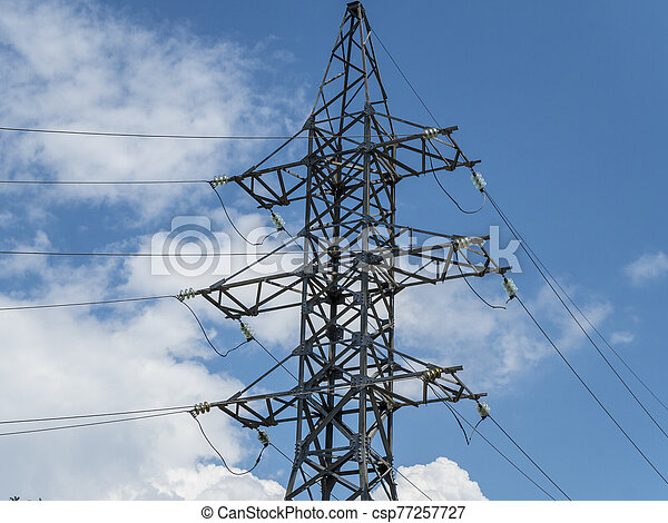 Post with electrical wires - csp77257727