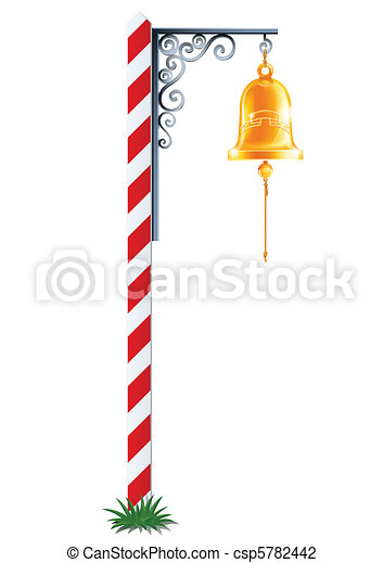 post with hanging bell vector illustration isolated on white background - csp5782442