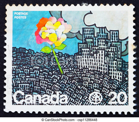 Postage stamp Canada 1976 Flower Growing from City - csp11286448
