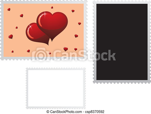 Postage stamp for Valentines Day ho - csp8370592