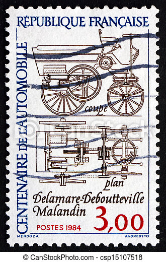 Postage stamp France 1984 Automobile Plans - csp15107518