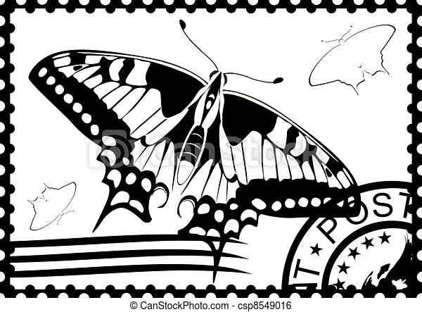 Postage Stamp With A Picture Of Butterfly And Mail Black White Illustration