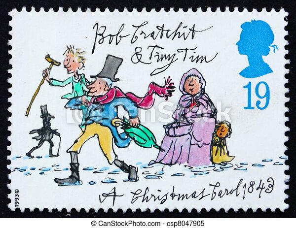 Postage stamp GB 1993 Tiny Tim and Bob Cratchit - csp8047905