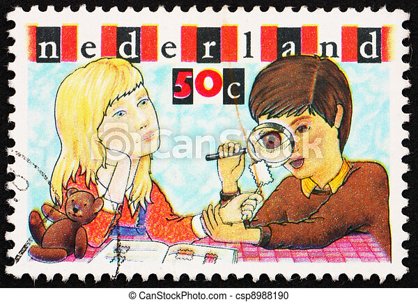 Postage stamp Netherlands 1980 Boy and Girl Inspecting Stamp - csp8988190