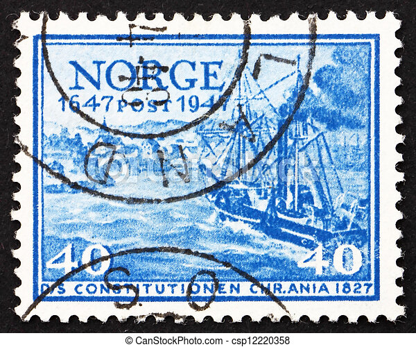 Norway Stamp norwegian Stamp Christian Magnus Falsen 1947