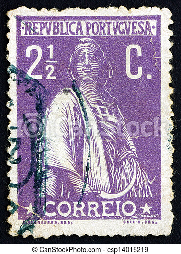 Postage stamp Portugal 1912 Ceres, Goddes of Agriculture - csp14015219