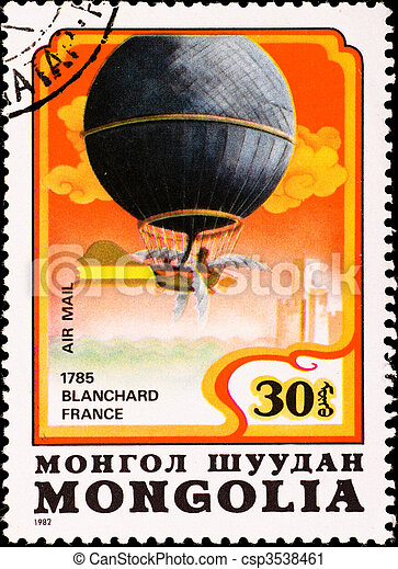 postage stamp shows air balloon Blanchard France - csp3538461