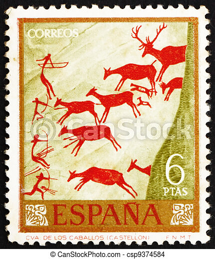 Postage stamp Spain 1962 Hunters and Deer Herd, Wall Painting - csp9374584