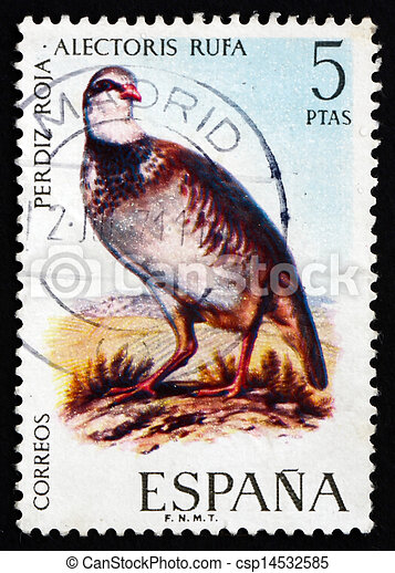 Postage Stamp Spain 1971 Red Legged Partridge Bird