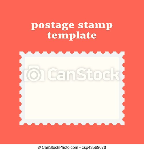 Postage Stamp Template On Red Background Concept Of  Vectors