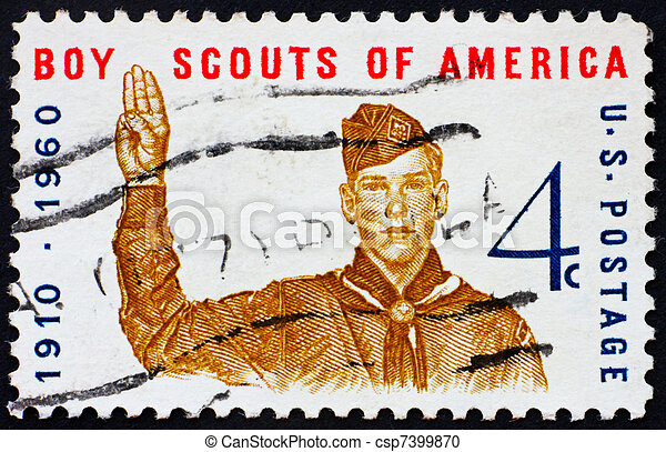 Postage stamp USA 1960 Boy scout giving scout sign - csp7399870
