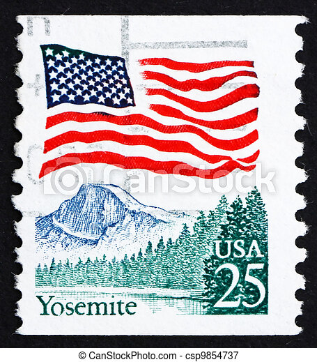 Postage Stamp USA 1988 Flag Over Yosemite Valley