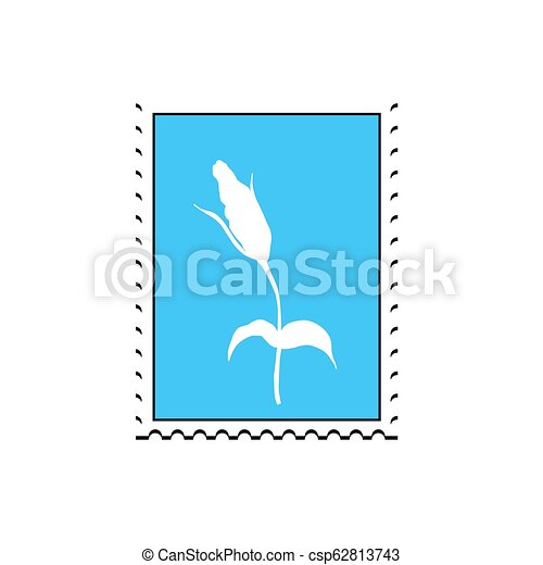 Postage stamp with flower  Flat simple style vector illustration for design  invitation, banner, poster, book, album