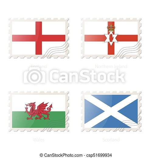 Postage stamp with the image of England, Northern Ireland, Wales, Scotland flag. - csp51699934