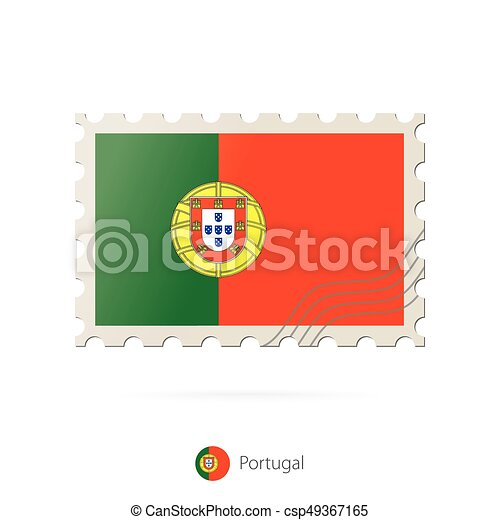 Postage stamp with the image of Portugal flag. - csp49367165