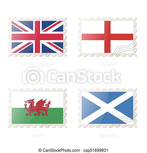 Postage stamp with the image of United Kingdom, England, Wales, Scotland flag. - csp51699931