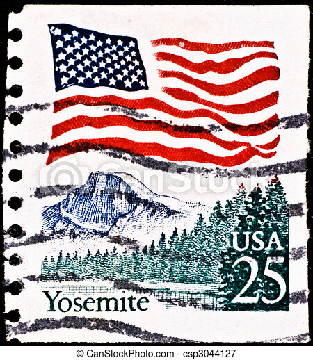 postage stamp with Yosemite National Park - csp3044127