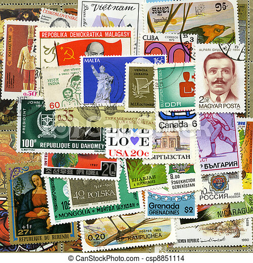 Postage stamps of the different countries - csp8851114