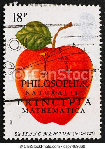 postaköltség, úr, 1982, usa, bélyeg, newton isaac - csp7469660