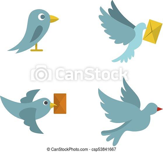 Postal bird icon set, flat style - csp53841667