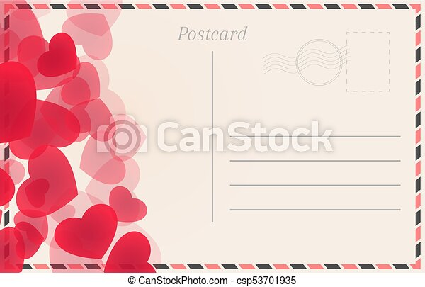 Postal card with red hearts - csp53701935