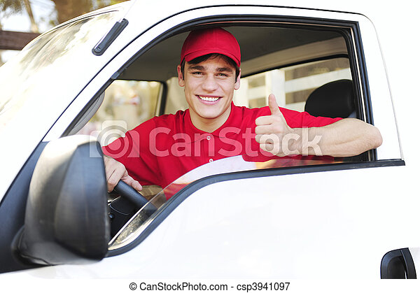 postal delivery courier in a van showing thumb up hand sign - csp3941097