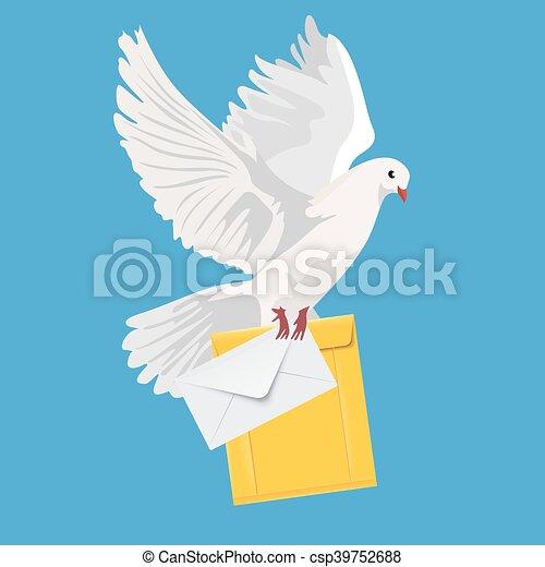 postal dove, pigeon, vector - csp39752688