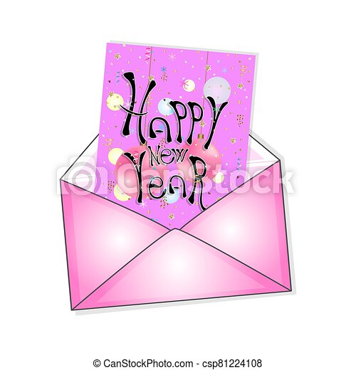 postal envelope with a New Year card. vector illustration. - csp81224108