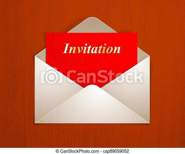 Postal envelope with invitation card over wooden background realistic vector paper illustration, graphic design element message greeting mail. - csp89059052