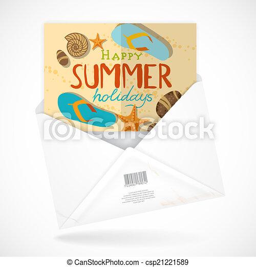 Postal Envelopes With Greeting Card - csp21221589