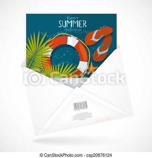 Postal Envelopes With Greeting Card - csp20876124