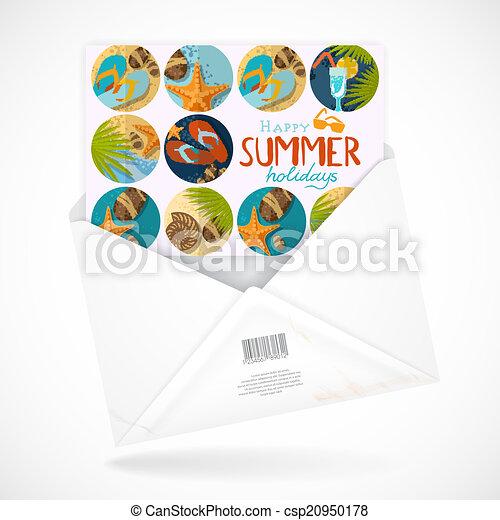 Postal Envelopes With Greeting Card - csp20950178