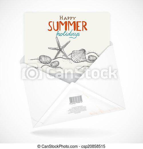 Postal Envelopes With Greeting Card - csp20858515