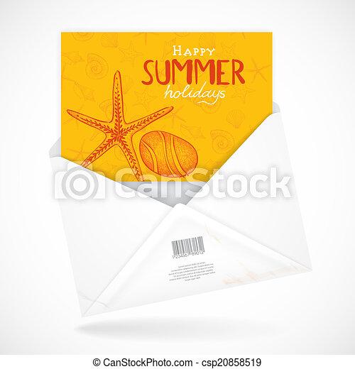 Postal Envelopes With Greeting Card - csp20858519