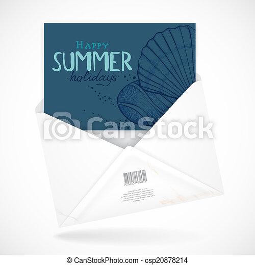 Postal Envelopes With Greeting Card - csp20878214