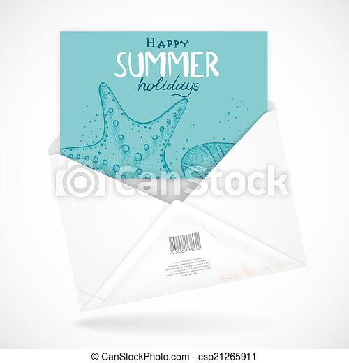 Postal Envelopes With Greeting Card - csp21265911
