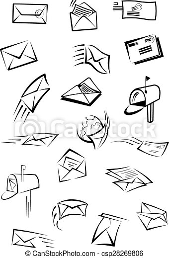 Postal icons with letters, envelopes, postboxes - csp28269806