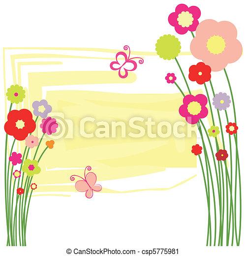 Una postal de flora primaveral con mariposa - csp5775981