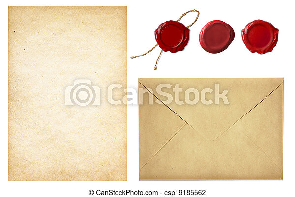 postal, viejo, vendimia, blanco, aislado, sellos, papel, set:, carta, cera, correo, sobre blanco, sello, rojo - csp19185562